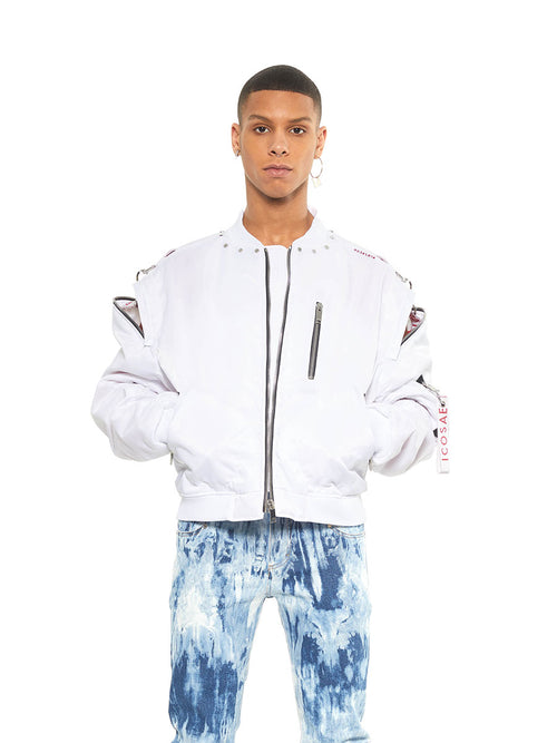 Icosae white zip shoulder bomber jacket - 2