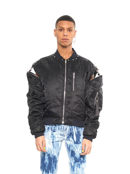 Icosae black zip shoulder bomber jacket - 1