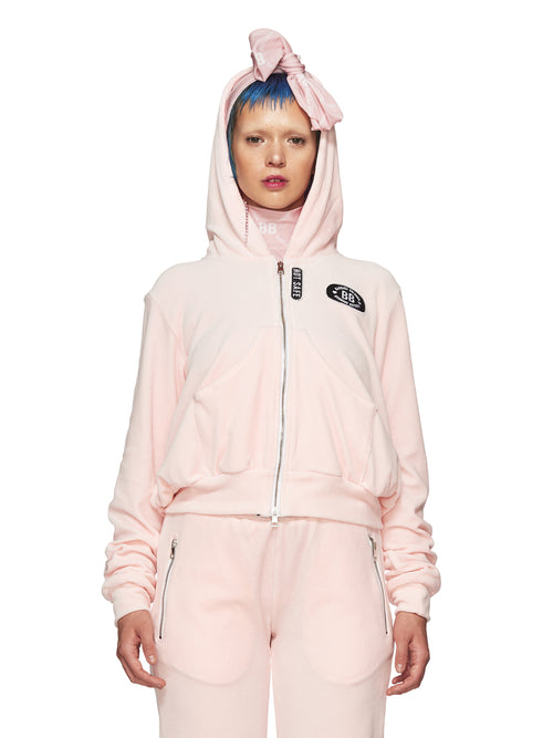 Barbara Bologna Pink Velvet Punk Hoodie odd92 exclusive - 1