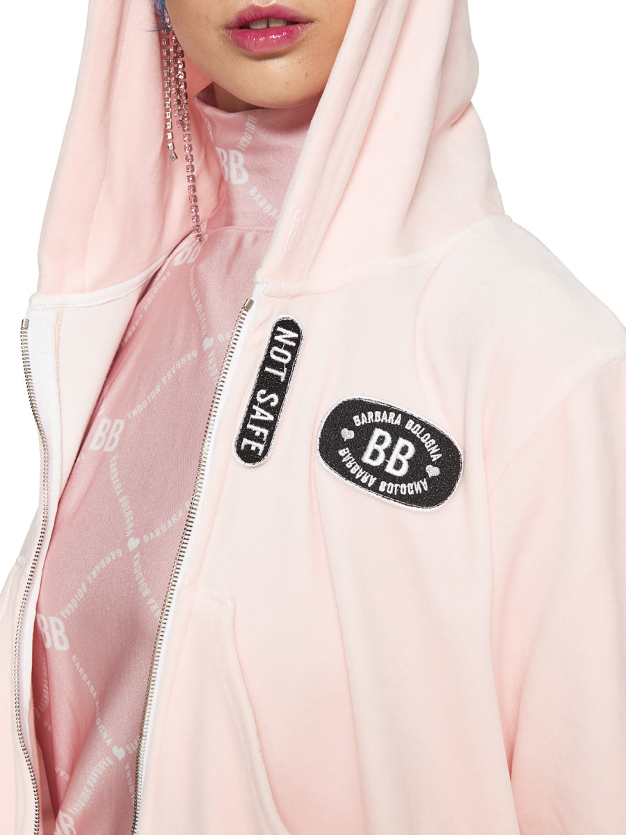 Barbara Bologna Pink Velvet Punk Hoodie odd92 exclusive - 6