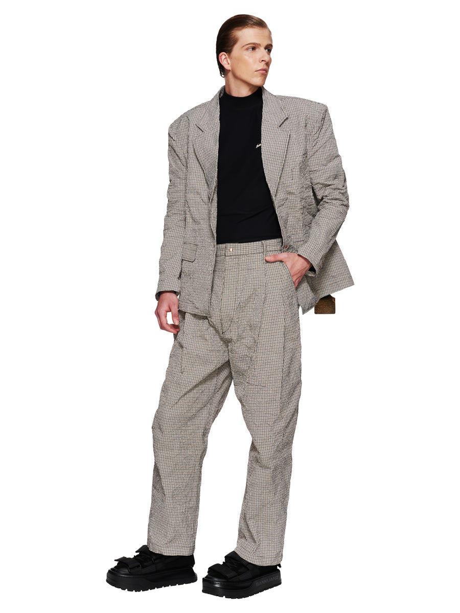 Sankuanz Fall/Winter 2018 Menswear Beige Check Belt Trousers odd92 - 5