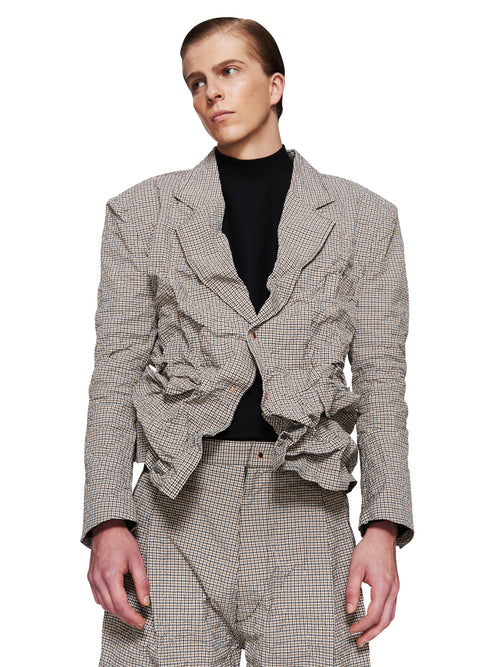 Sankuanz Fall/Winter 2018 Menswear Beige Check Blazer odd92 - 2