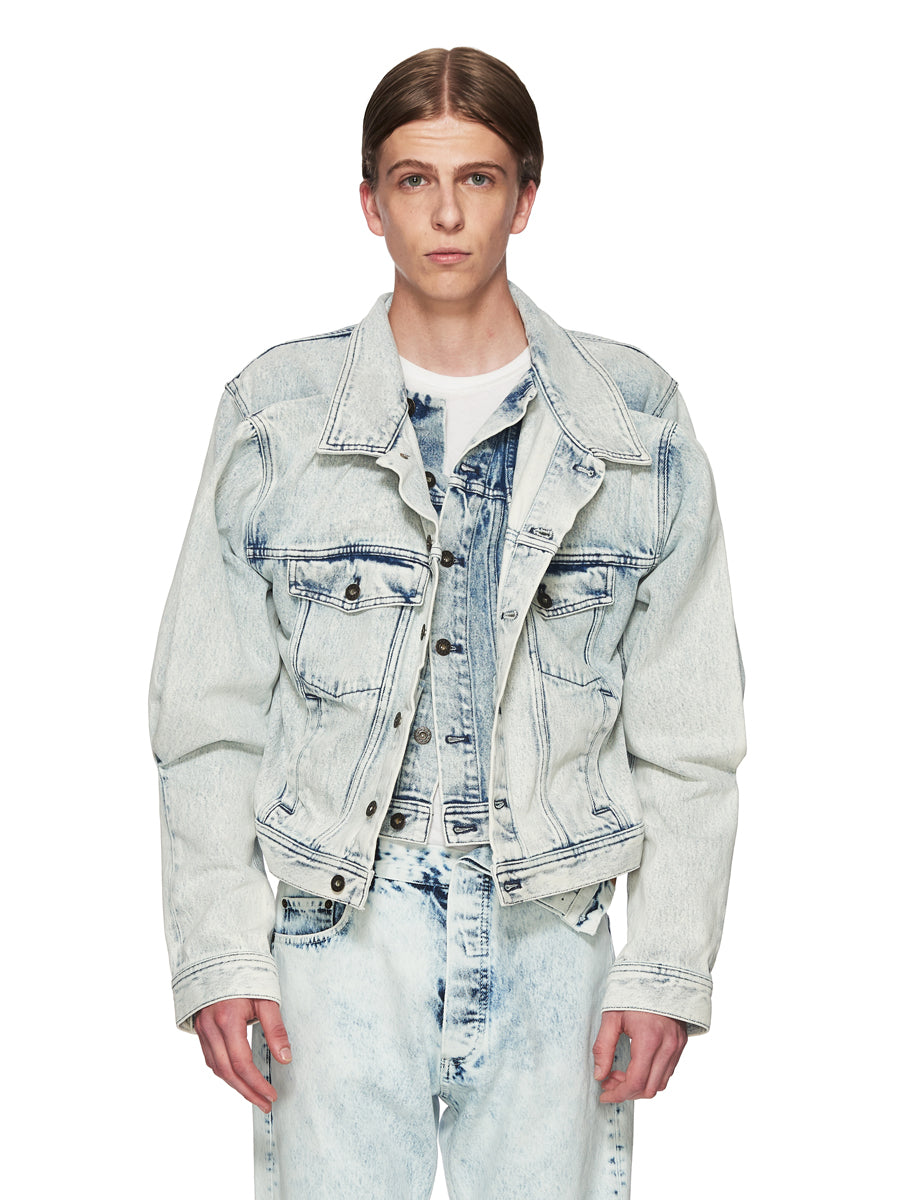 Y/Project White Double Front Denim Jacket odd92 - 1