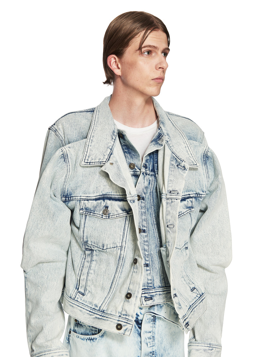 Y/Project White Double Front Denim Jacket odd92 - 6