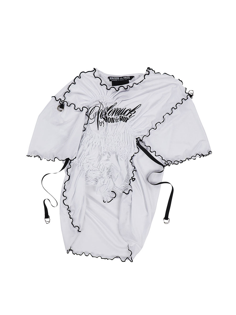 odd92 Maison the Faux Spring/Summer 2019 White Ruched T-Shirt - 1