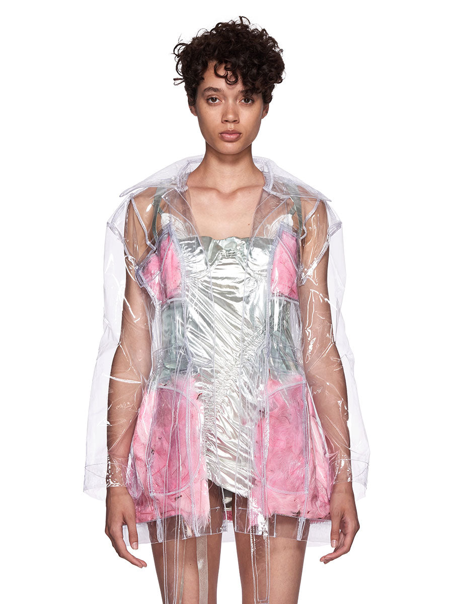 Neith Nyer SS18 Runway Mariah Clear Feather Coat - 5