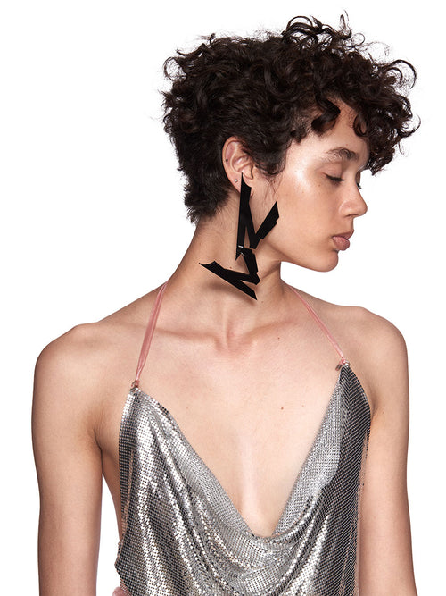 Neith Nyer SS18 Black Plexi-Glass NN Earring - 1