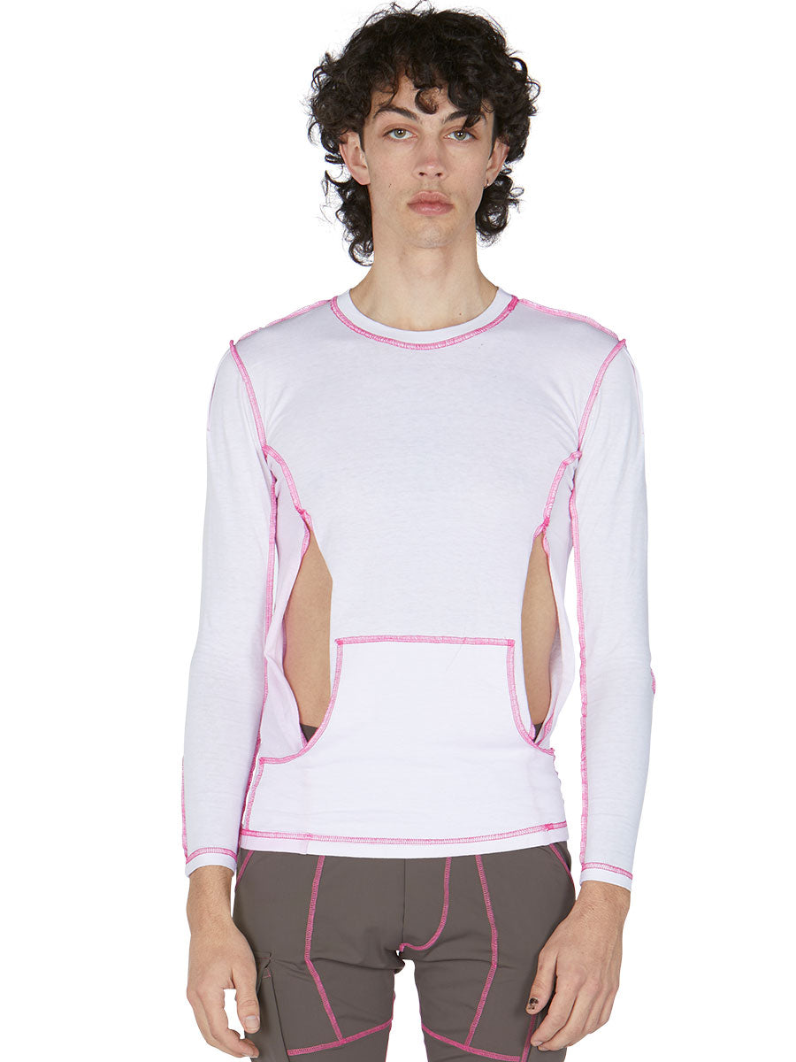 odd92 Per Götesson Spring/Summer 2019 Menswear Pink Cover Stitch Slit Top - 3