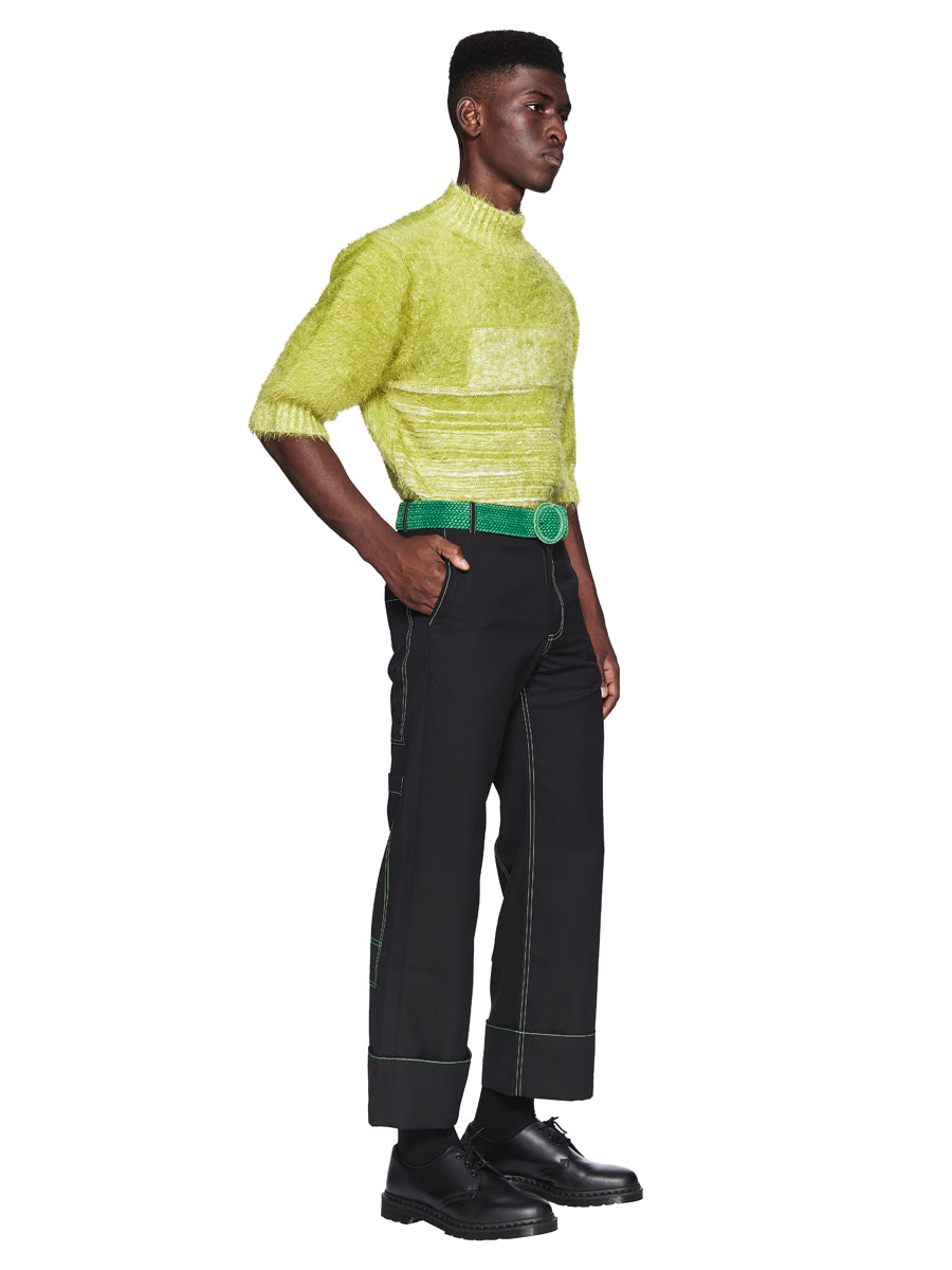 Chin Menswear Intl. Apple Green Furry Jumper Fall/Winter 2018 odd92 - 4