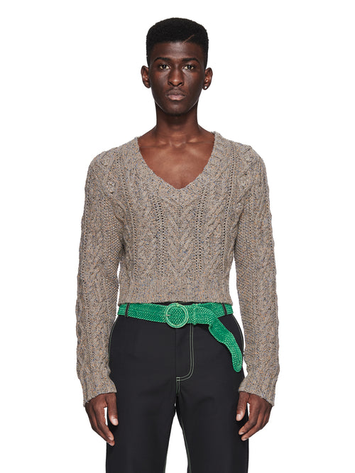 Chin Menswear Intl. Grey Cropped Knit Sweater Fall/Winter 2018 Menswear odd92 - 1