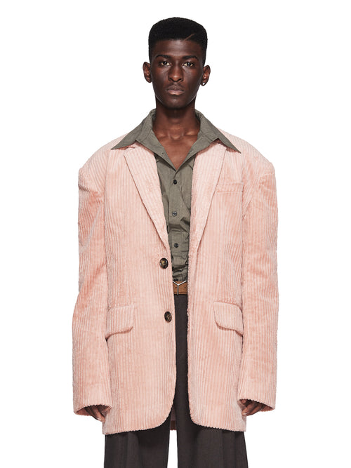 Chin Menswear Intl. Pink Corduroy Dropped Shoulder Jacket Fall/Winter 2018 Menswear odd92 - 1