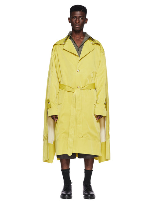 Chin Menswear Intl. Apple Green Double Cloak Trench Fall/Winter 2018 Menswear odd92 - 1