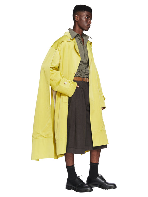 Chin Menswear Intl. Apple Green Double Cloak Trench Fall/Winter 2018 Menswear odd92 - 2