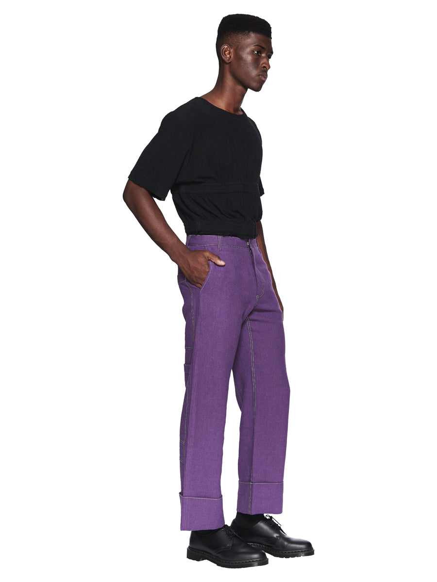Chin Menswear Intl. Purple Patch Pocket Trousers Fall/Winter 2018 odd92 - 4
