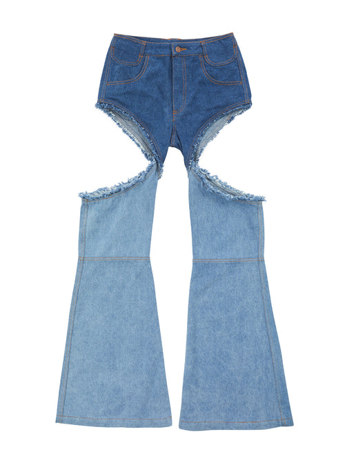 Cut-Out Boot Cut Jeans