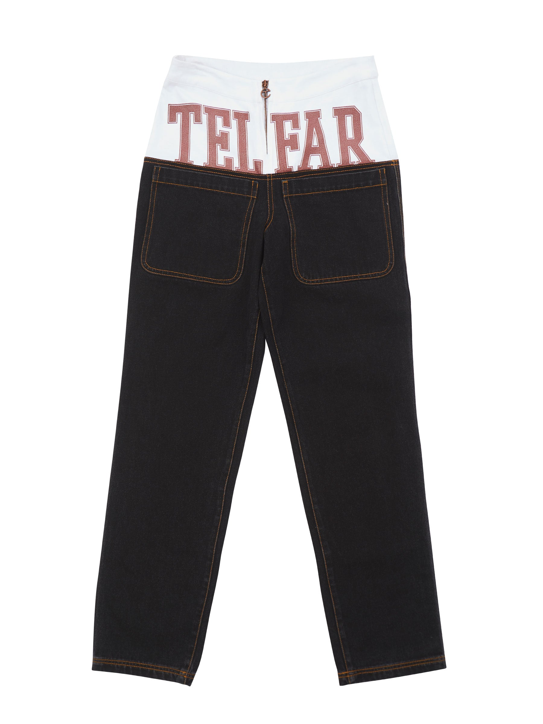 Drop-Waist Flag Sweat Jeans