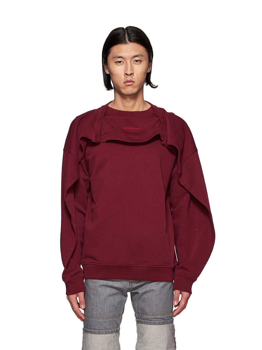 Y/Project Double Shoulder Sweatshirt Burgundy - 1