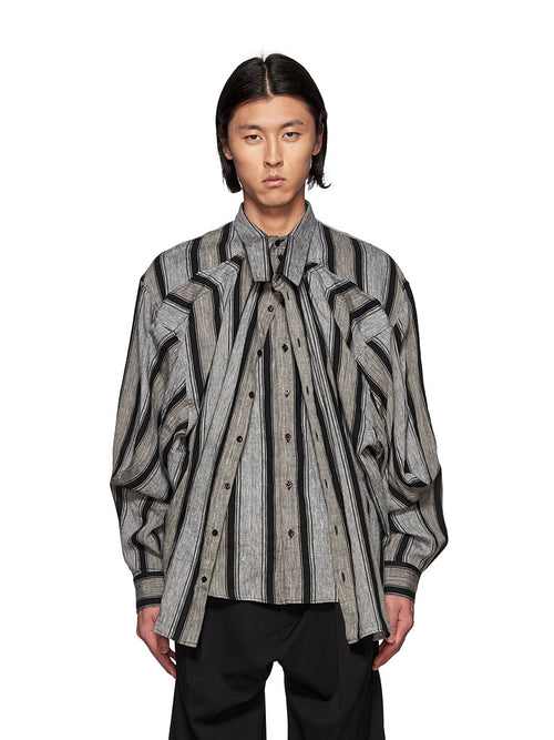 Y/Project Grey and Black Striped Linen Double Layer Shirt - 1