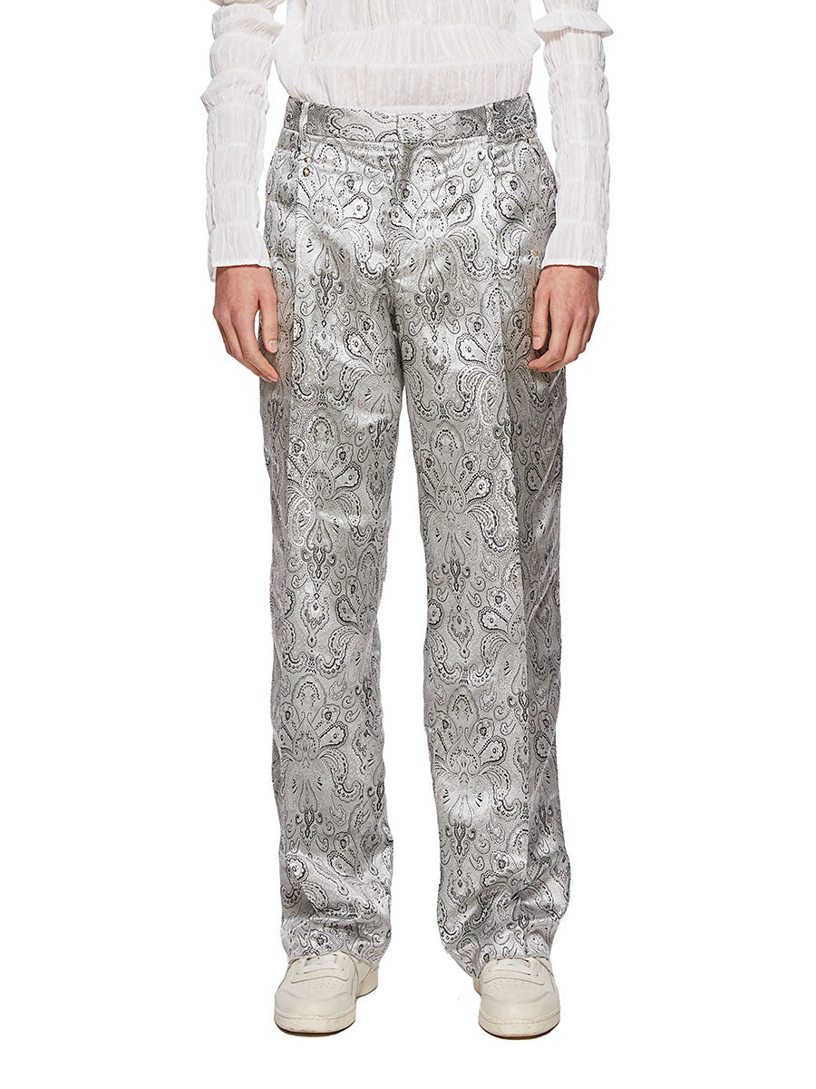 Y/Project Silver Paisley Boxy Suit Trousers - 1