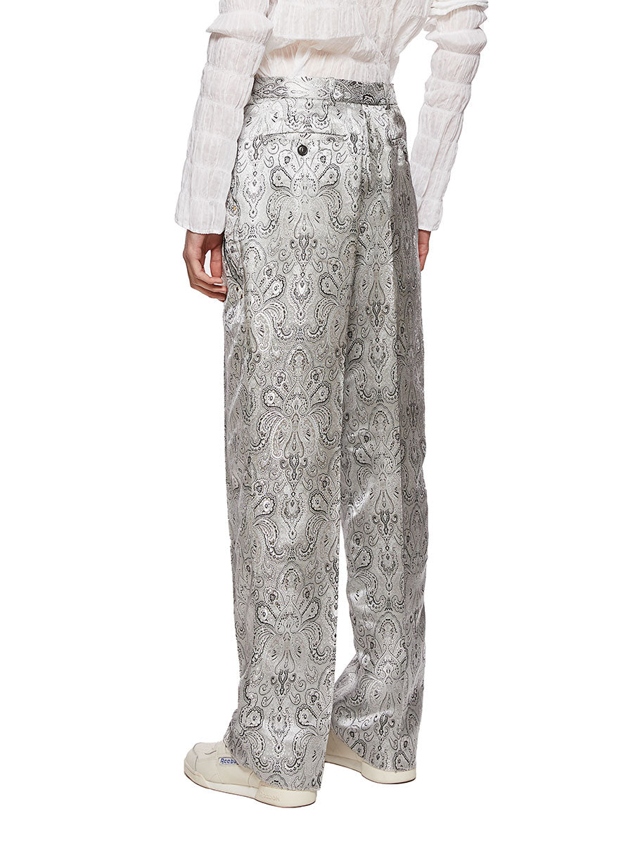 Y/Project Silver Paisley Boxy Suit Trousers - 2