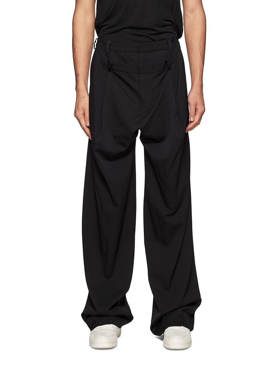 Y/Project Black Slouch Front Trousers - 1