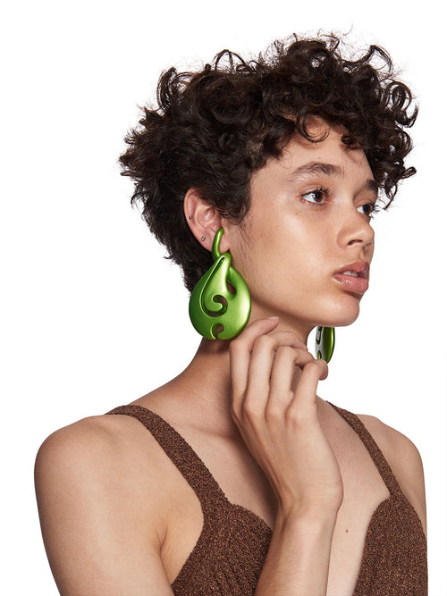 Y/Project SS18 Green Waterdrop Earrings - 1