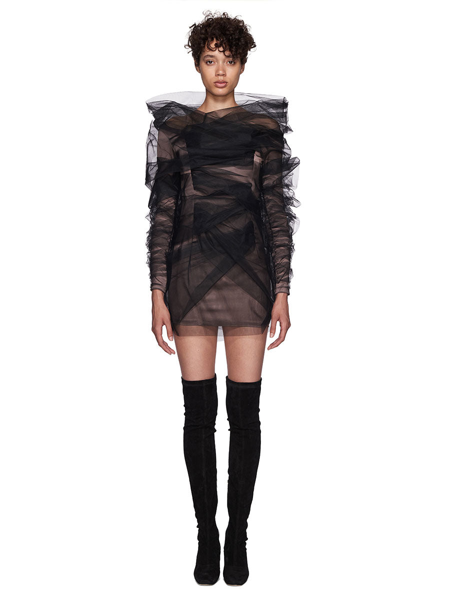 Y/Project SS18 Grey Tulle Mini Dress - 1
