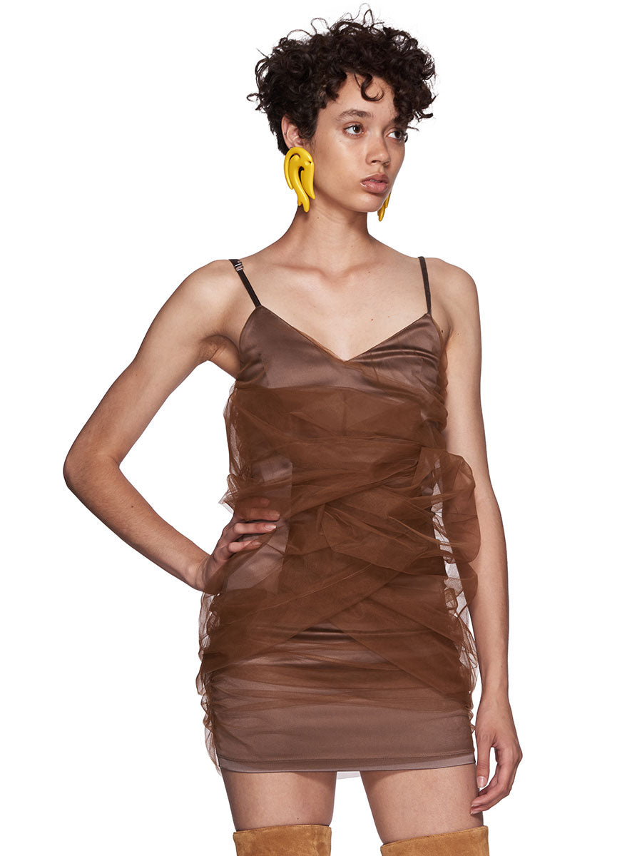Y/Project SS18 Brown Tulle Slip Dress - 2