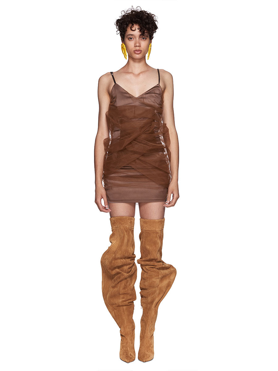 Y/Project SS18 Brown Tulle Slip Dress Brown Suede Boots - 1