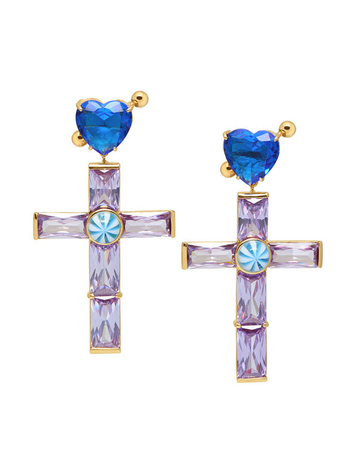 odd92 Jiwinaia Lilac Crystal Cross Earrings Spring/Summer 2019 Jewelry - 1