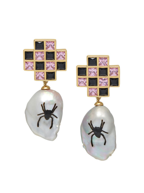odd92 Jiwinaia Spider Checkerboard Earrings Jewelry Spring/Summer 2019 - 1