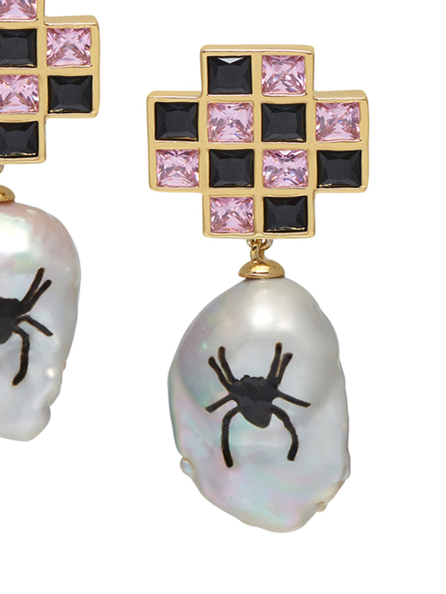 odd92 Jiwinaia Spider Checkerboard Earrings Jewelry Spring/Summer 2019 - 2