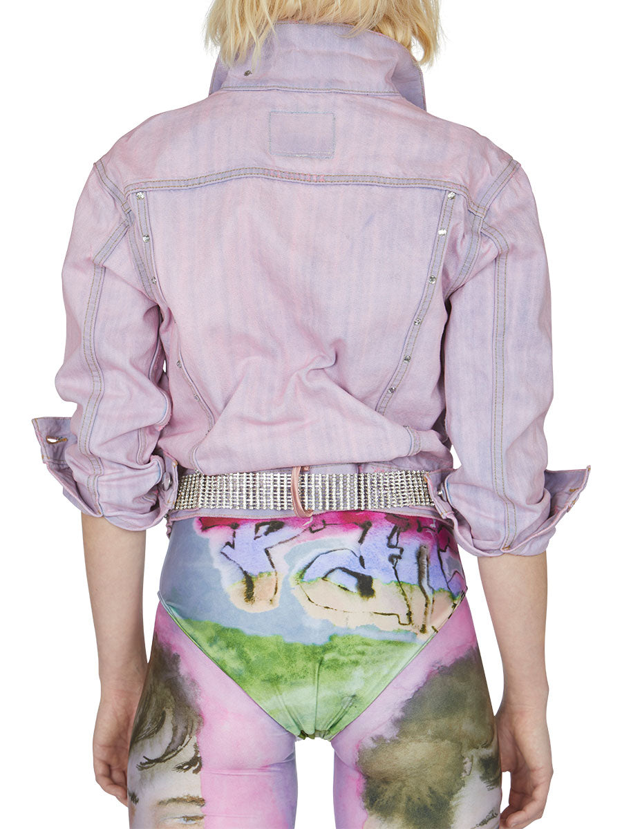 odd92 Shop Neith Nyer Spring/Summer 2019 Womenswear Tie Dye Crystal Denim Jacket - 5