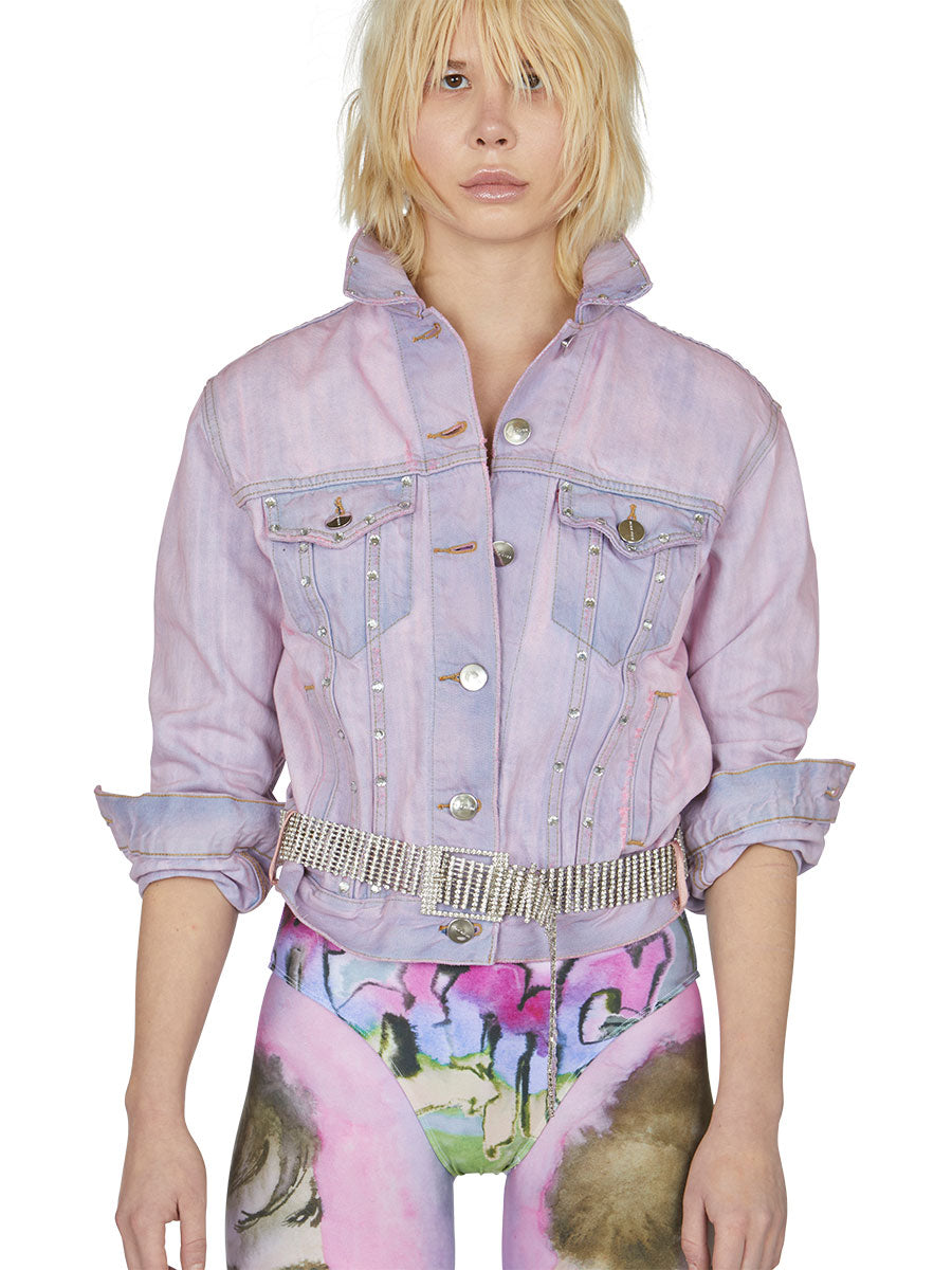 odd92 Shop Neith Nyer Spring/Summer 2019 Womenswear Tie Dye Crystal Denim Jacket - 4