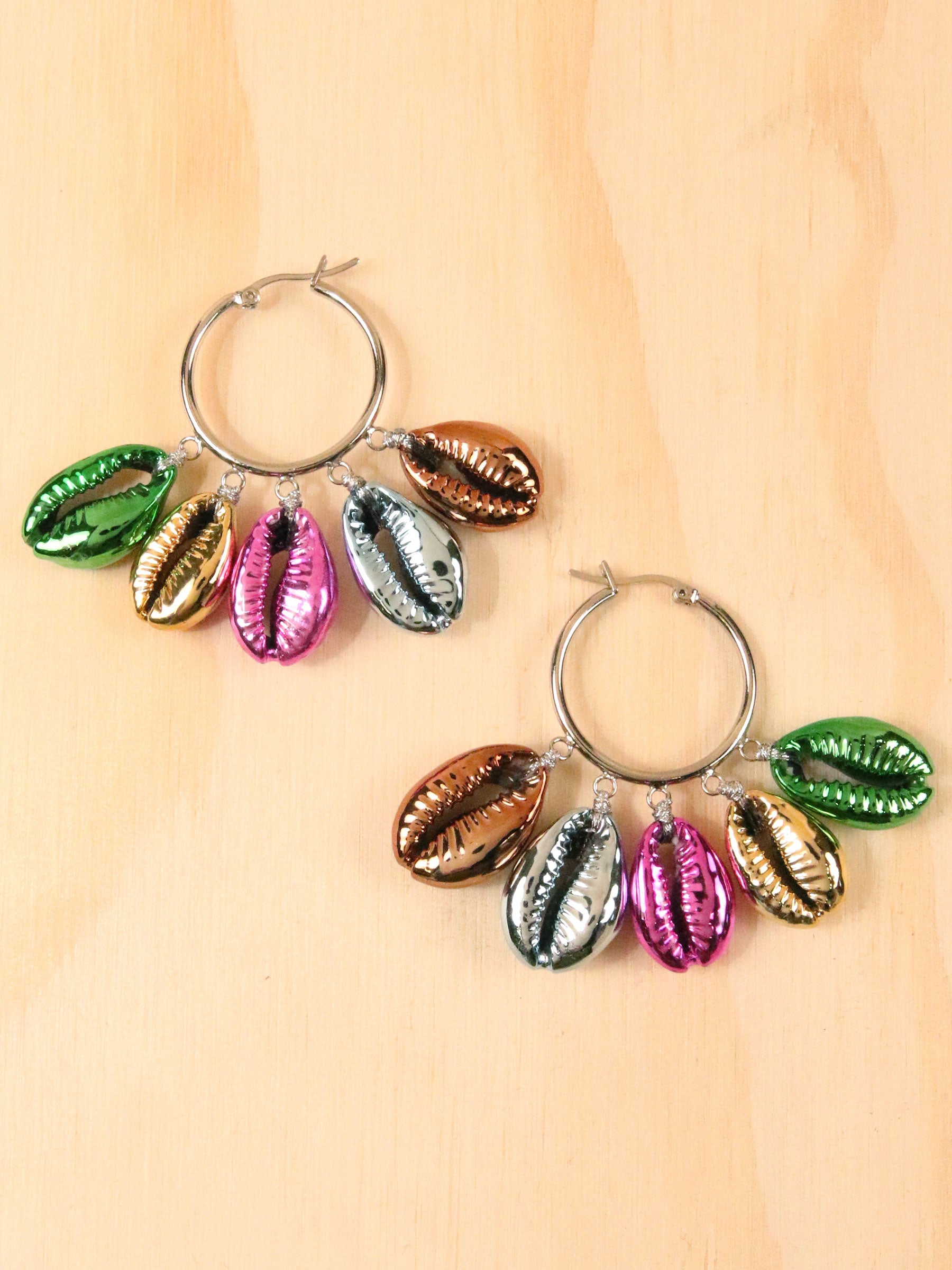 Rainbow Metallic Shell Earrings