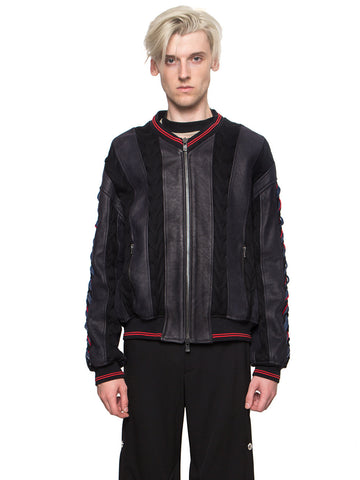 Paneled Leather Bomber Jacket