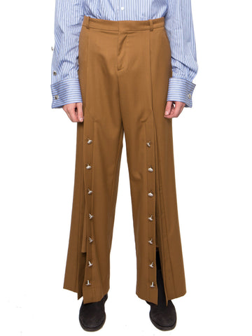 Wide-Leg Slit Trousers