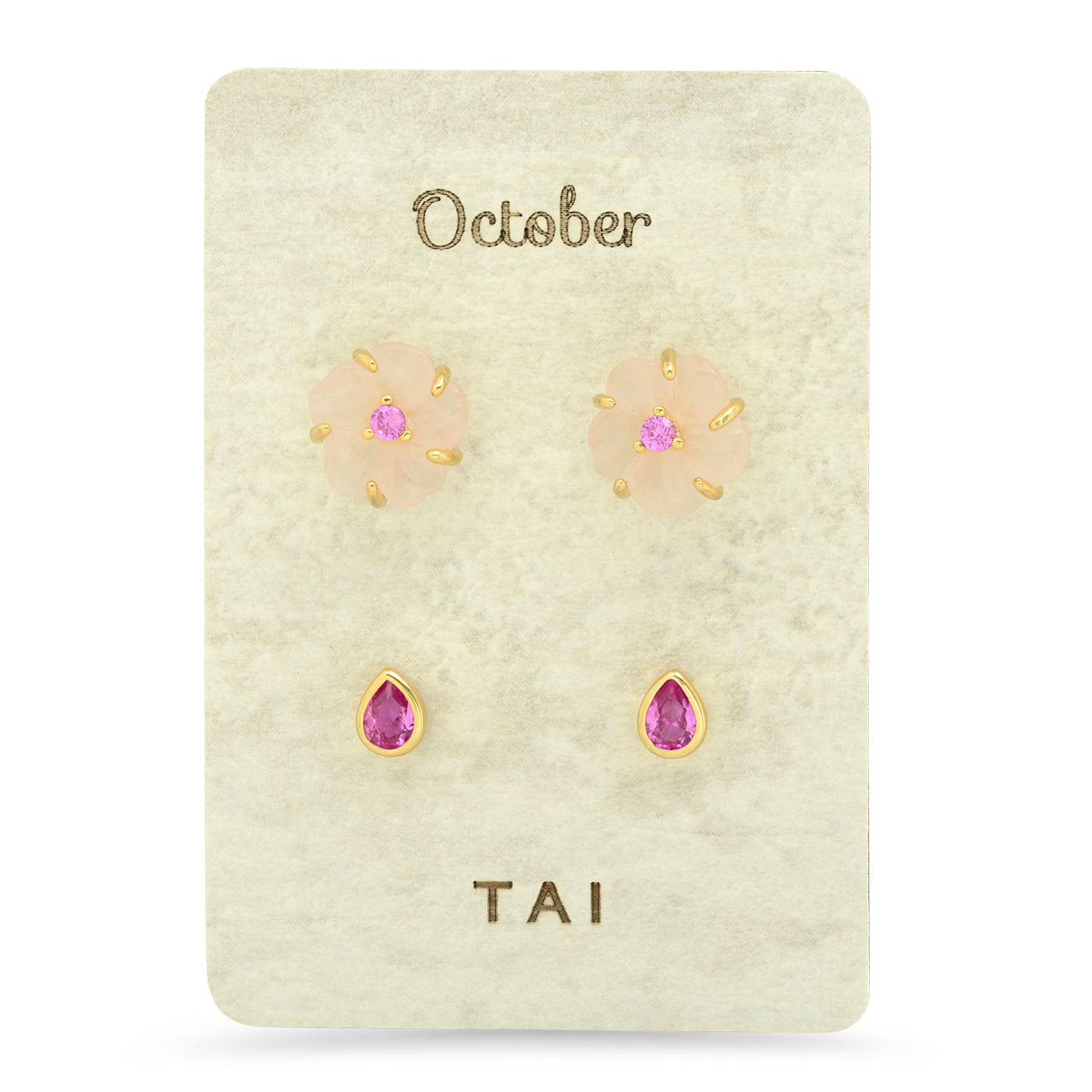 Rose Quartz Floral Birthstone Stud Pack