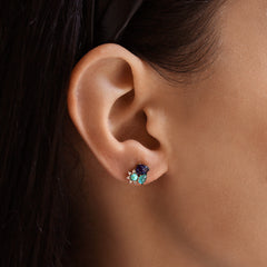 Rock Crystal Cluster Stud with Delicate CZ Accents