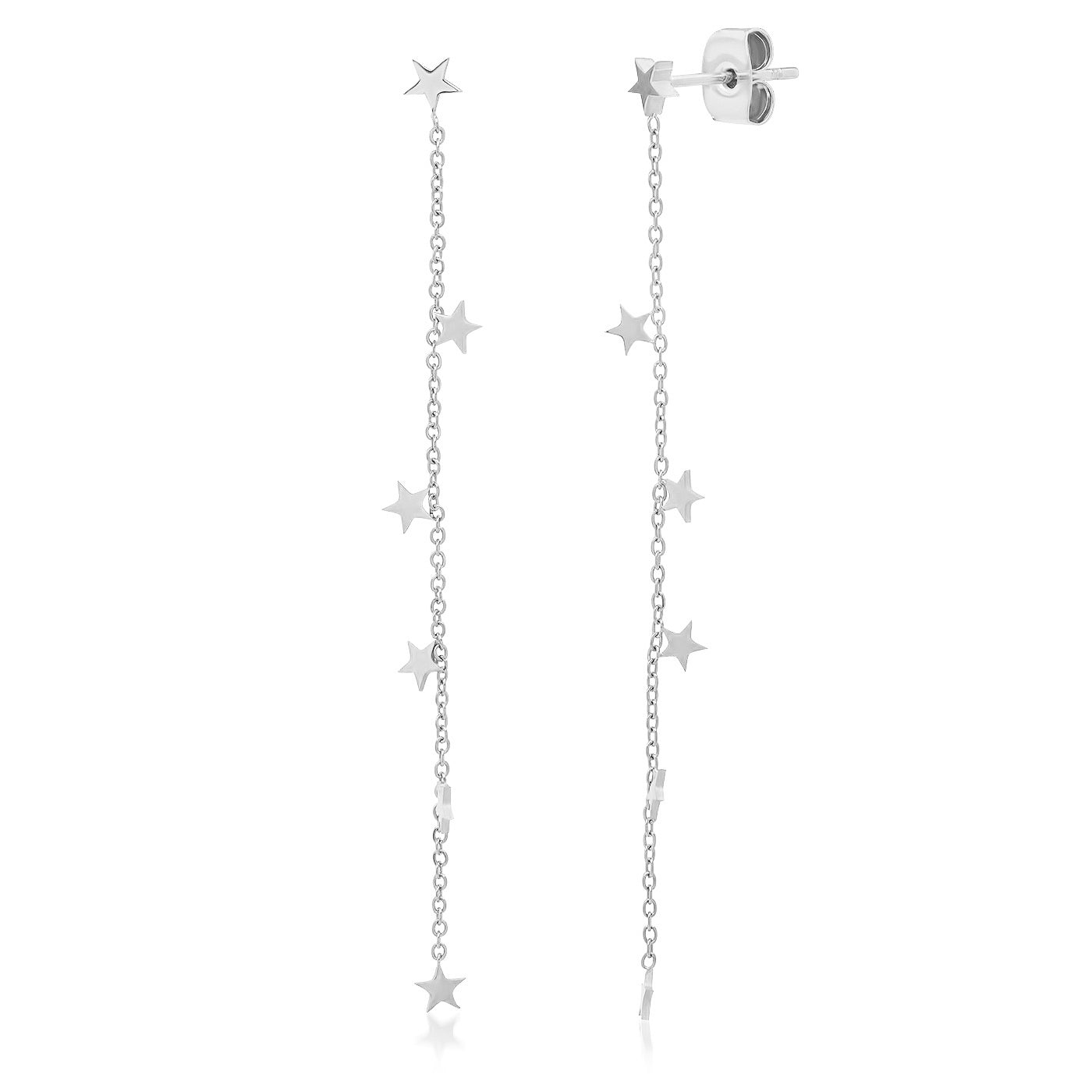 Chain Dangle Earrings with Star Charms