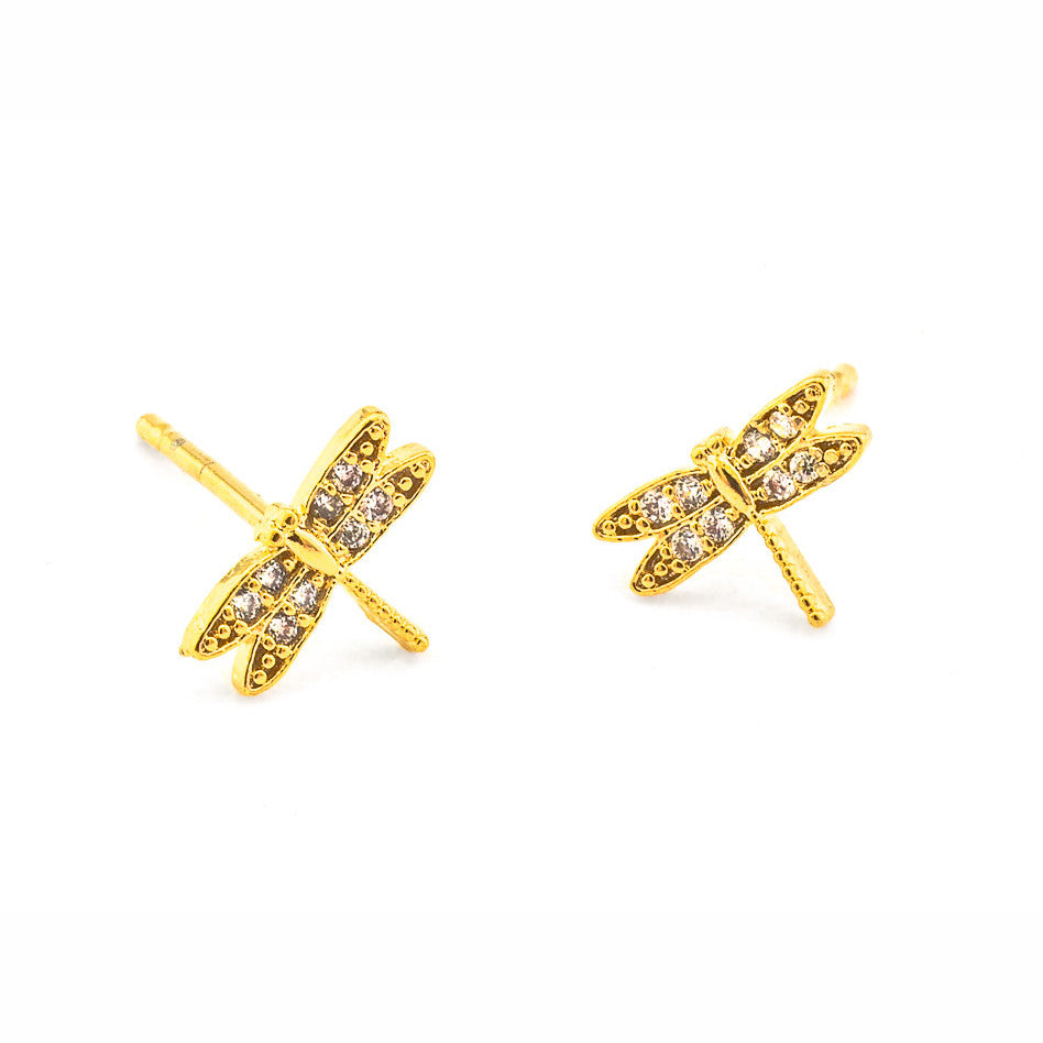 PAVE DRAGONFLY POST EARRINGS