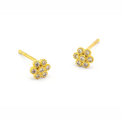 PAVE FLOWER POST EARRINGS