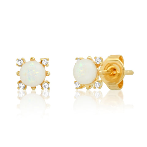 Opal Studs with CZ Accents