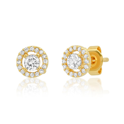 CZ Studs with Pave Halo