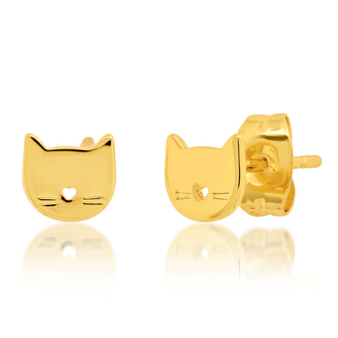 Whimsical Gold Cat Studs