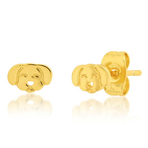 Whimsical Gold Dog Studs