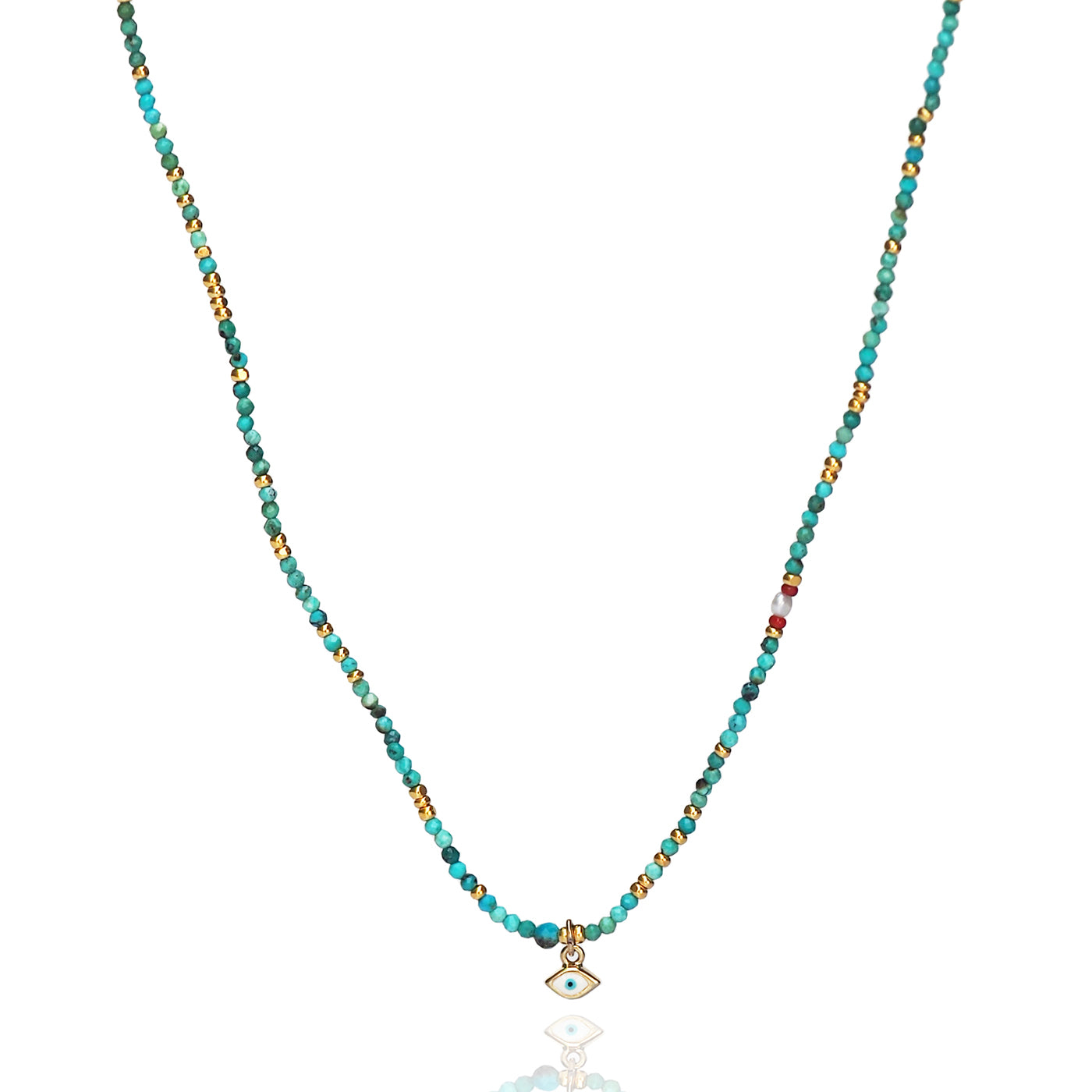 Handmade Turquoise Beaded Necklace with Evil Eye Dangle