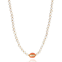 Pearl Beaded Necklace with Shell Accent