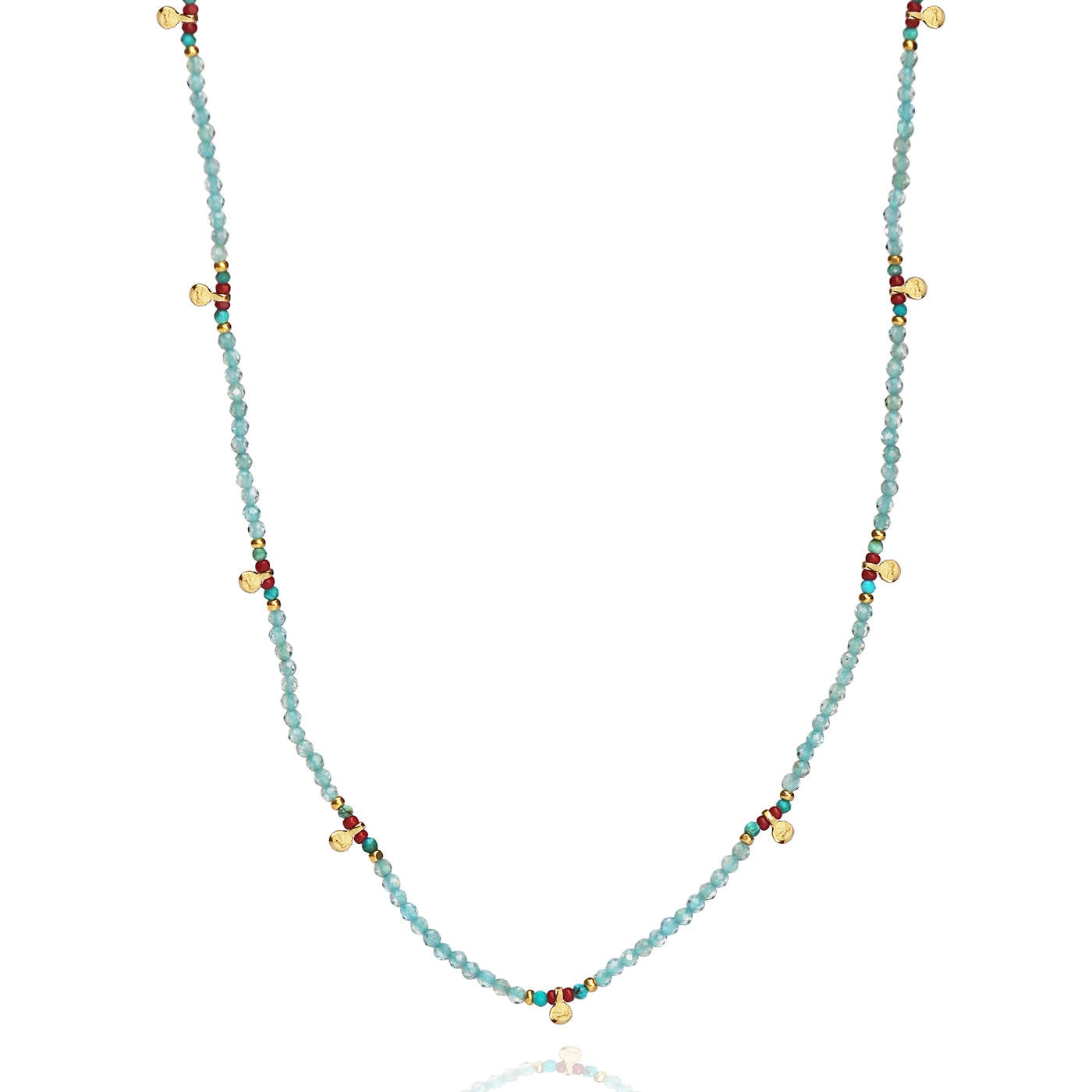 Handmade Beaded Necklace with Disc Dangles
