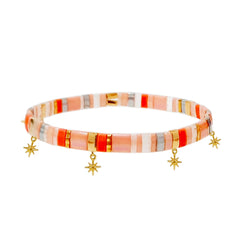 Handmade Tila Bead Bracelet with Starburst Charms